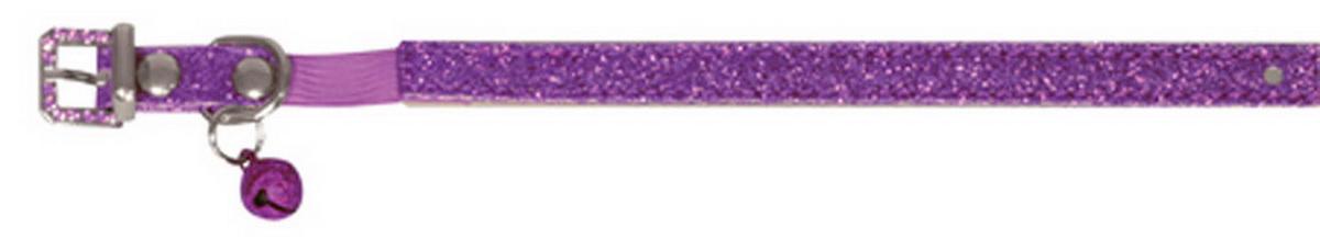 """Ошейник для кошек """"Dezzie"""", с бубенчиком, цвет: фиолетовый, обхват шеи 26 см, ширина 1 см. Размер XS. 5624404"""