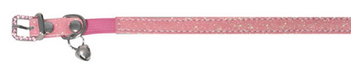 """Ошейник для кошек """"Dezzie"""", с бубенчиком, цвет: розовый, обхват шеи 26 см, ширина 1 см. Размер XS. 5624406"""