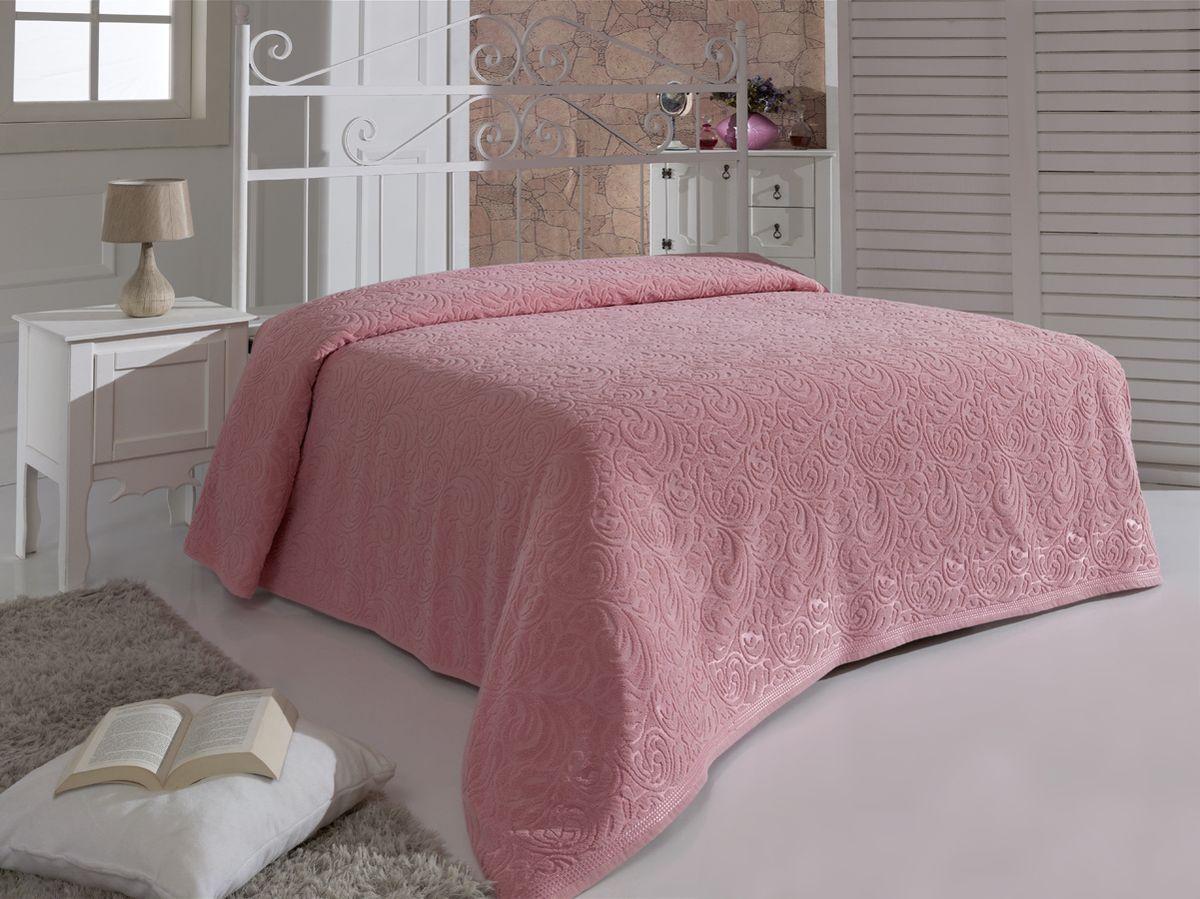 Простыня махровая Karna Esra, цвет: розовый, 200 x 220 см простыня на резинке эго цвет розовый 200 х 200 см
