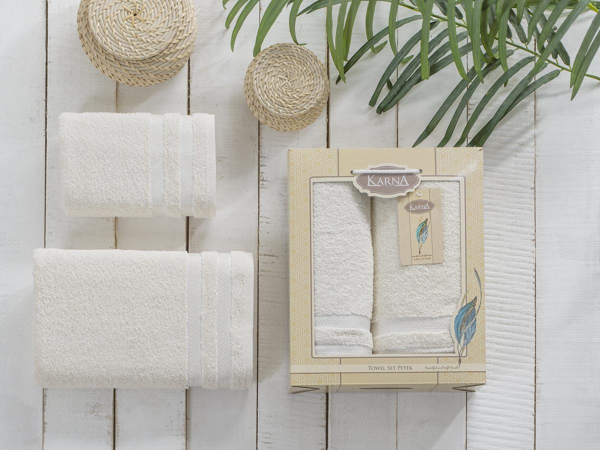 """Набор махровых полотенец Karna """"Petek"""", цвет: кремовый, 50 х 90 см, 70 х 140 см, 2 шт"""