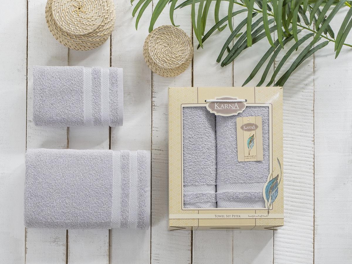 "Набор махровых полотенец Karna ""Petek"", цвет: серый, 50 х 90 см, 70 х 140 см, 2 шт"