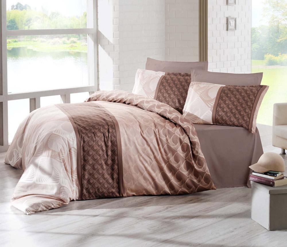 цена на Комплект белья Altinbasak Festa, 2-спальный, наволочки 50х70, цвет: коричневый