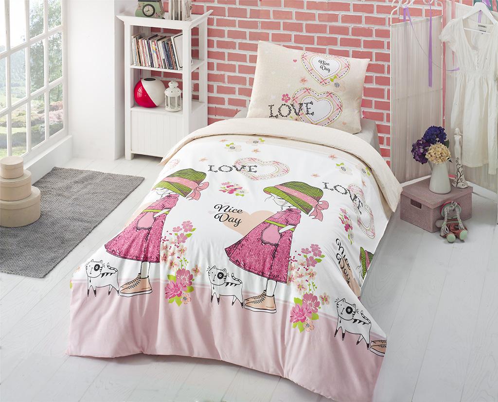 Комплект белья Altinbasak Nice Day, 1,5-спальный, наволочки 50х70, цвет: розовый