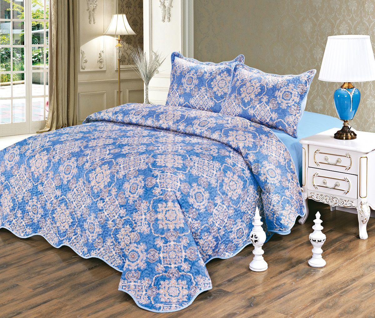 Комплект для спальни Karna Gretal: покрывало 230 х 250 см, 2 наволочки 50 х 70 см, цвет: zumrut комплект для спальни сайлид twiggi покрывало 230 х 250 см 2 наволочки 50 х 70 см цвет голубой
