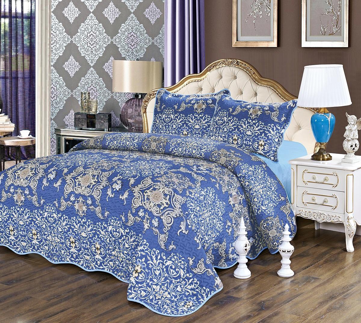 Комплект для спальни Karna Gretal: покрывало 230 х 250 см, наволочки 50 х 70 см, цвет: роял комплект для спальни сайлид twiggi покрывало 230 х 250 см 2 наволочки 50 х 70 см цвет голубой