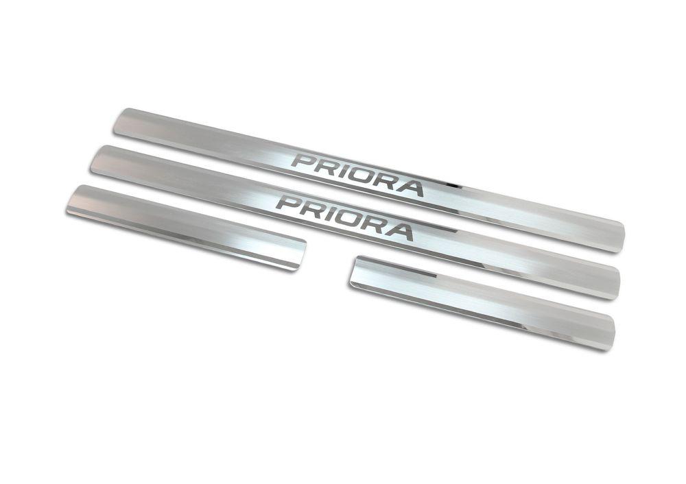 Накладки на пороги Rival, для Lada Priora 2007-, 4 шт накладки на пороги rival для hyundai creta 2016 н в нерж сталь с надписью 4 шт np 2310 1