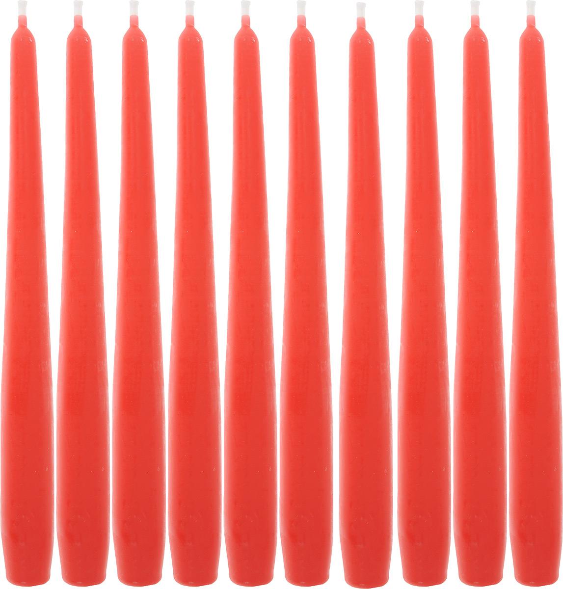 Набор свечей Омский cвечной завод, цвет: красный, высота 24 см, 10 шт набор декоративных свечей омский свечной завод цвет синий высота 24 см 2 шт