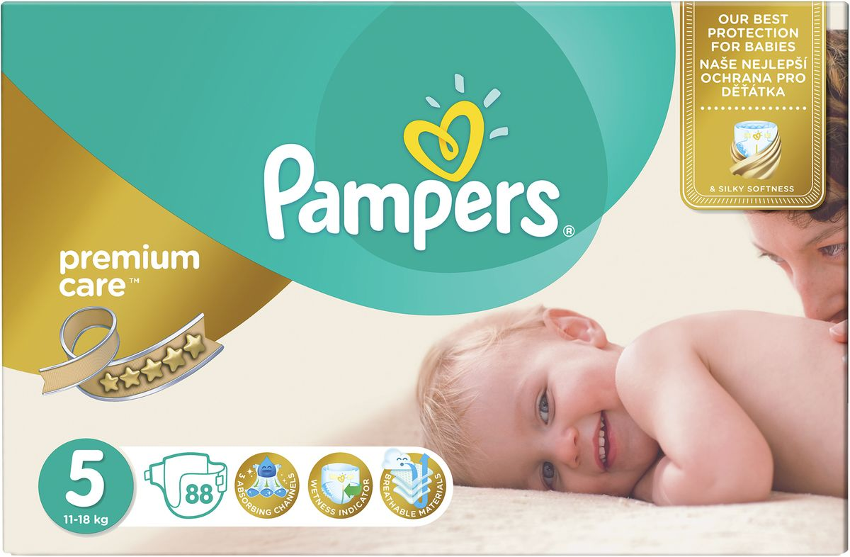 Pampers Подгузники Premium Care 11-18 кг (размер 5) 88 шт подгузники pampers premium care 5 11 кг 64 шт
