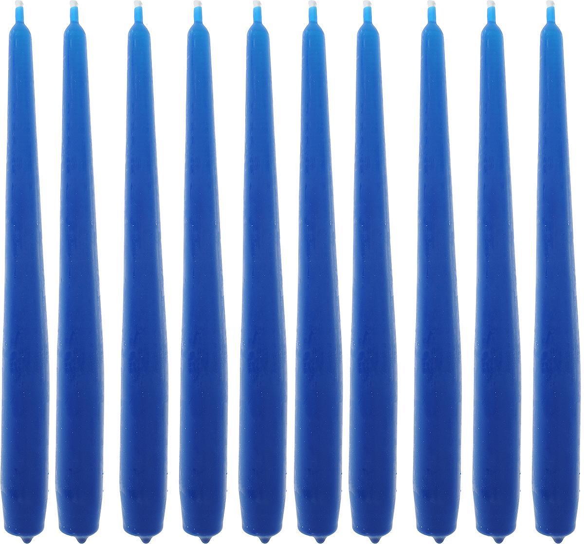 """Набор свечей """"Омский cвечной завод"""", цвет: синий, высота 24 см, 10 шт"""