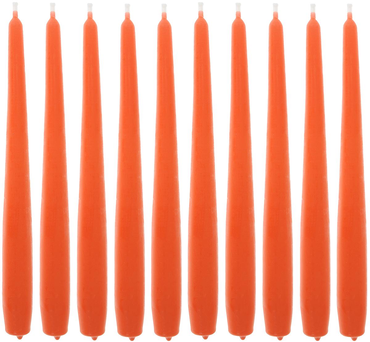 Набор свечей Омский cвечной завод, цвет: оранжевый, высота 24 см, 10 шт набор декоративных свечей омский свечной завод цвет синий высота 24 см 2 шт