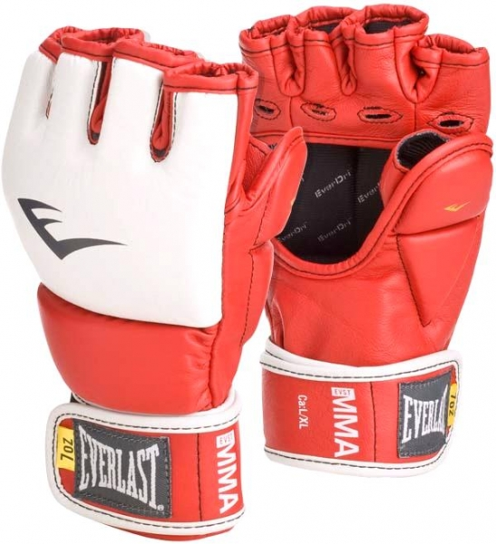 цена на Перчатки тренировочные Everlast MMA Grappling, цвет: красный. Размер S/M