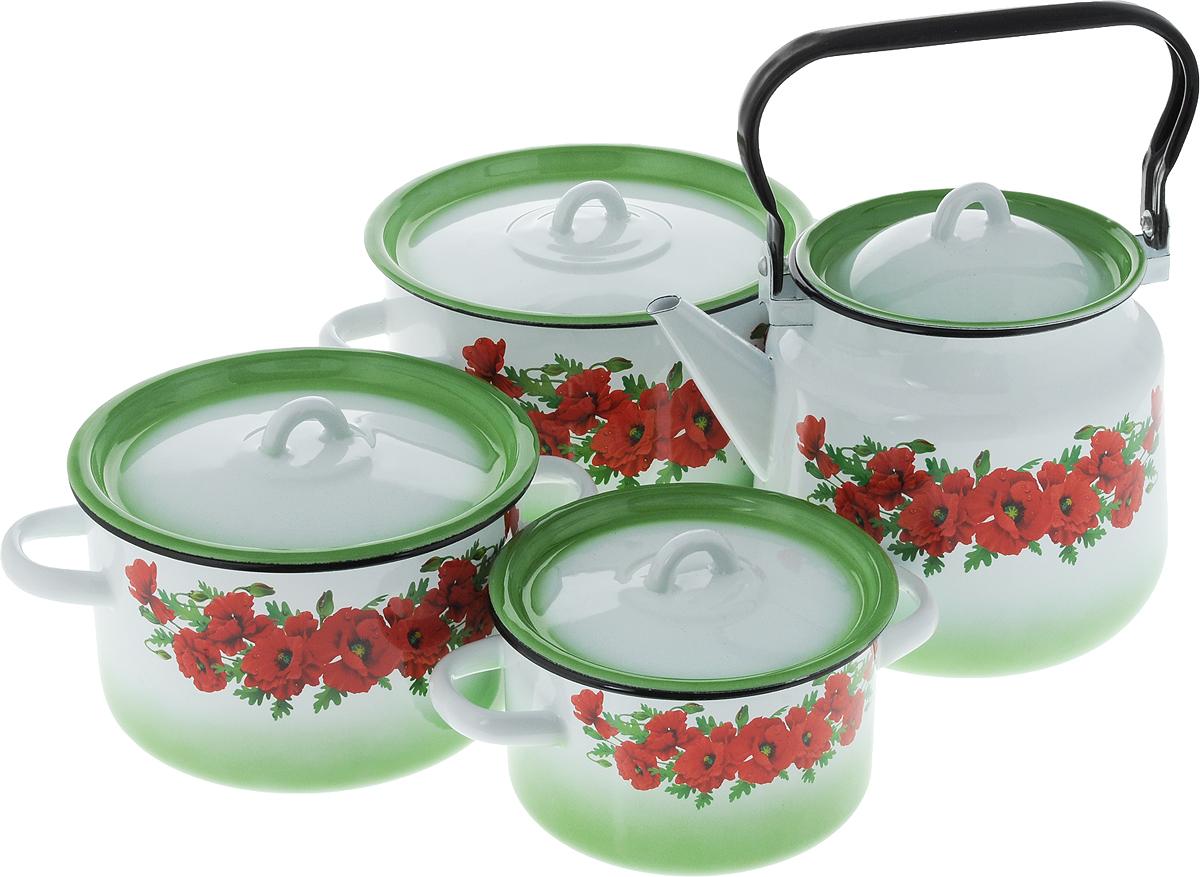 """Набор посуды СтальЭмаль """"Восточный мак"""", 8 предметов"""