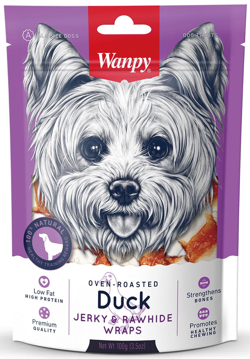 Лакомство для собак Wanpy Dog, кости из сыромятной кожи с утиным мясом, 100 г