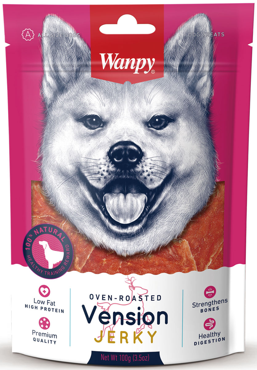 Лакомство для собак Wanpy Dog, филе из оленины, 100 г