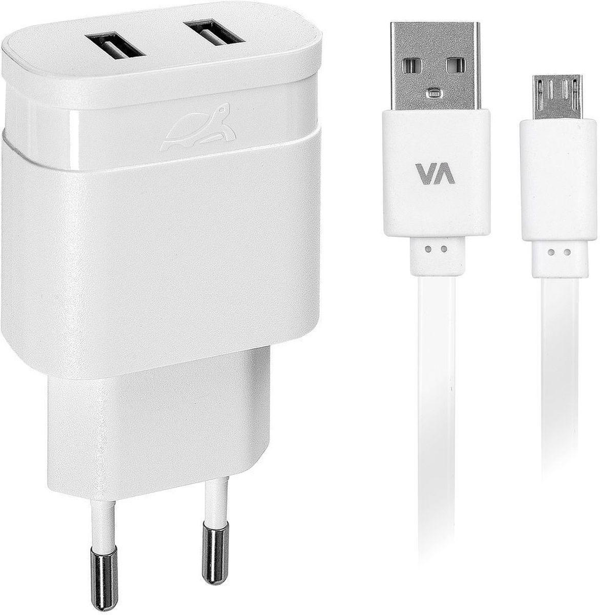 Rivapower VA4122 WD1, White сетевое зарядное устройство rivacase rivapower va 4222 wd1 2usb x 2 4a