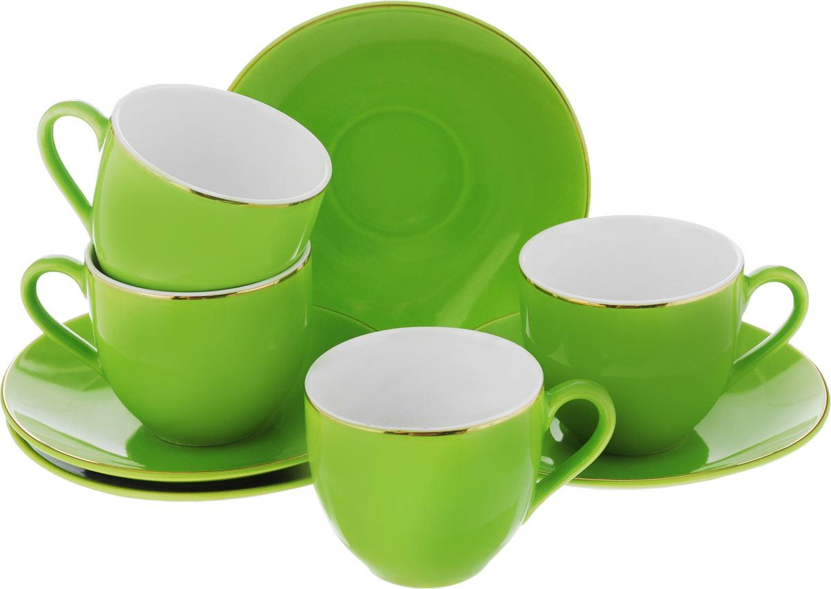 Набор кофейный Loraine, цвет: зеленый, 8 предметов24752Кофейный набор Loraine состоит из 4 чашек и 4 блюдец. Изделия выполнены из высококачественного фарфора, имеют яркий дизайн и классическую круглую форму. Такой набор прекрасно подойдет как для повседневного использования, так и для праздников. Набор Loraine - это не только яркий и полезный подарок для родных и близких, но и великолепное дизайнерское решение для вашей кухни или столовой. Диаметр чашки (по верхнему краю): 6 см. Высота чашки: 5,5 см. Диаметр блюдца (по верхнему краю): 11 см.Высота блюдца: 1,7 см.Объем чашки: 80 мл.