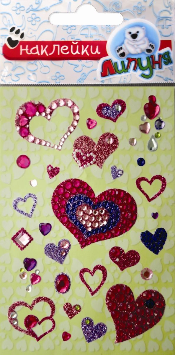Липуня Набор хрустальных наклеек Сердца 2 набор наклеек липуня знания fps004