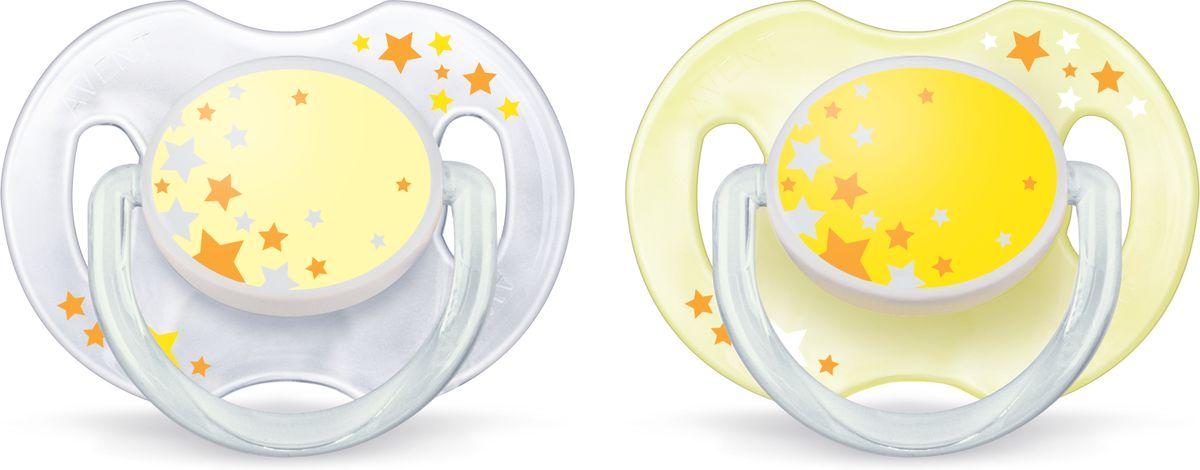 Philips Avent Пустышка серия Night SCF176/18 звезды, желтая, бежевая, 2 шт., 0-6 мес.