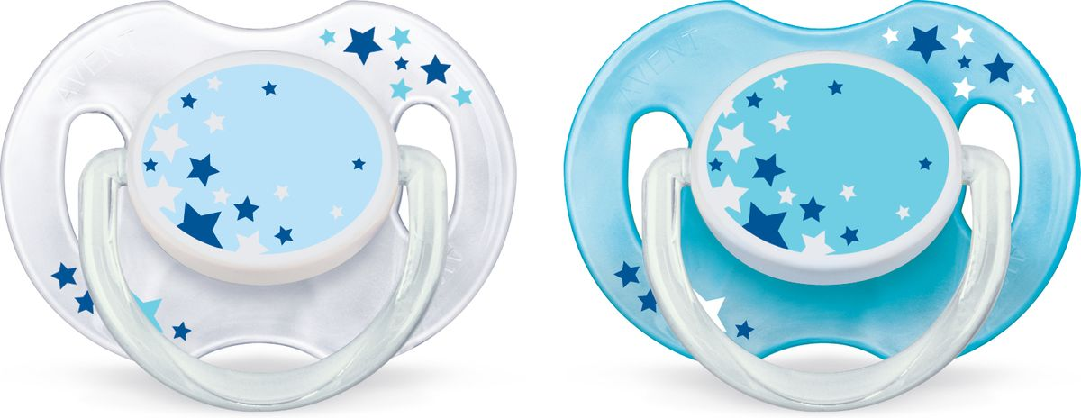 Philips Avent Пустышка серия Night SCF176/18 звезды, голубая, белая, 2 шт., 0-6 мес.