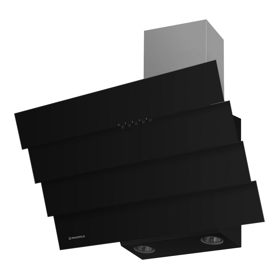 Наклонная кухонная вытяжка CASCADA QUART 60 BLACK Ширина - 600 мм, Управление - кнопочное, Цвет–черный...