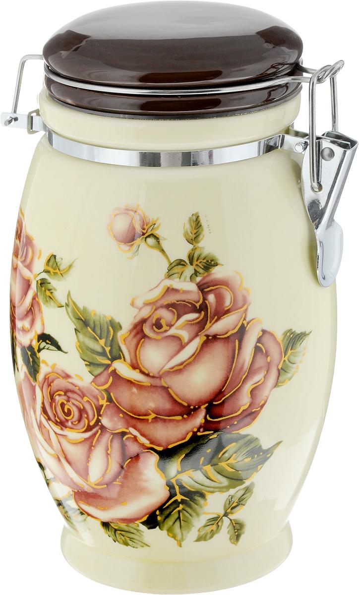 банка для сыпучих продуктов loraine розы и бабочка 750 мл Банка для сыпучих продуктов Loraine Розы, 1,15 л