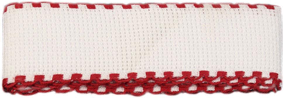 Канва-лента для вышивания Bestex, цвет: белый, красный, 1,5 м х 3,5 см. 7707138 набор шкатулок для рукоделия bestex 3 шт zw001250