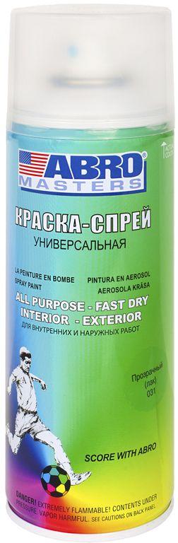 Краска-спрей Abro Masters, цвет: прозрачный. SP-031-AM краска спрей abro masters цвет серый грунт sp 008 am