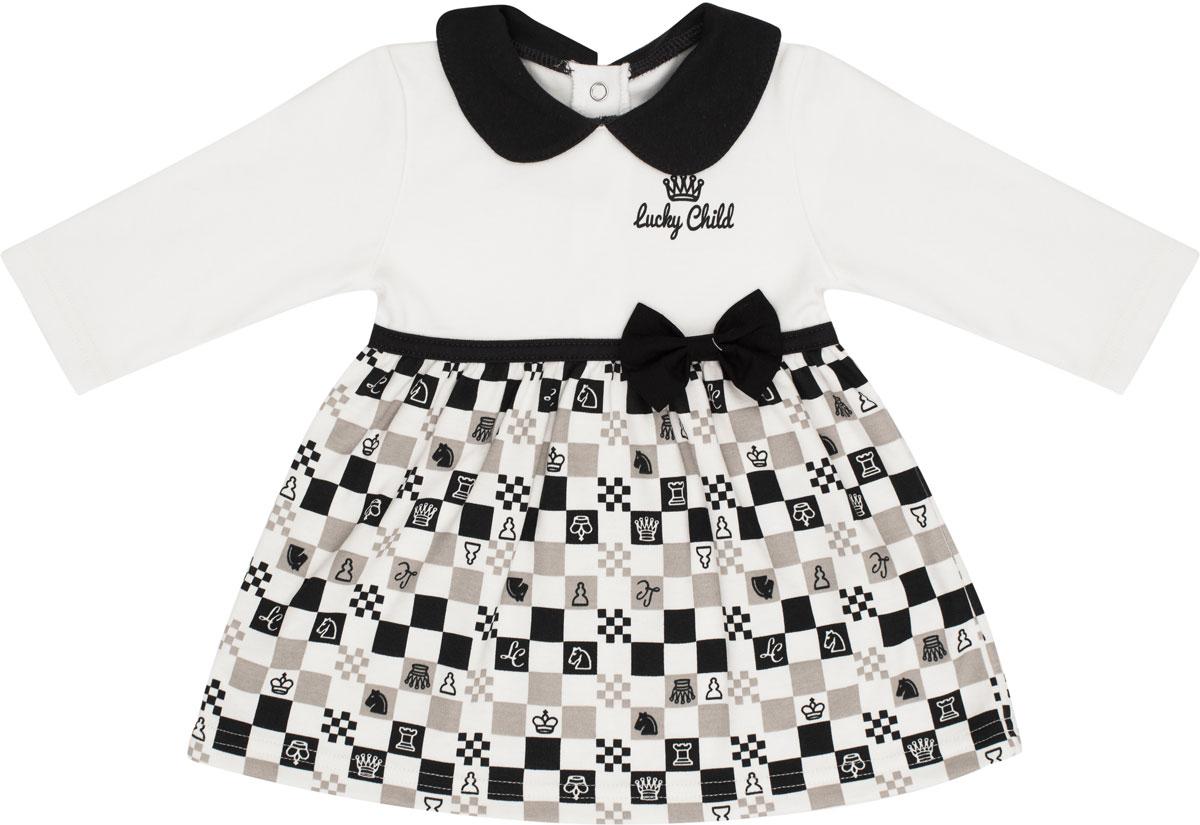 Платье Lucky Child Шахматный турнир кофта для девочки lucky child шахматный турнир цвет молочный темно серый 29 20д размер 68 74