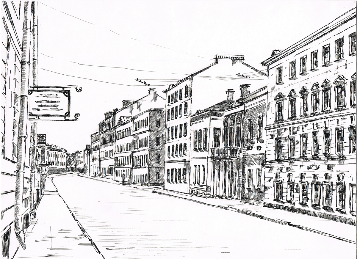 Петербург. Рисунок. Тушь, карандаш. Россия, 2000-е гг. Петербург. Рисунок. Тушь, карандаш...