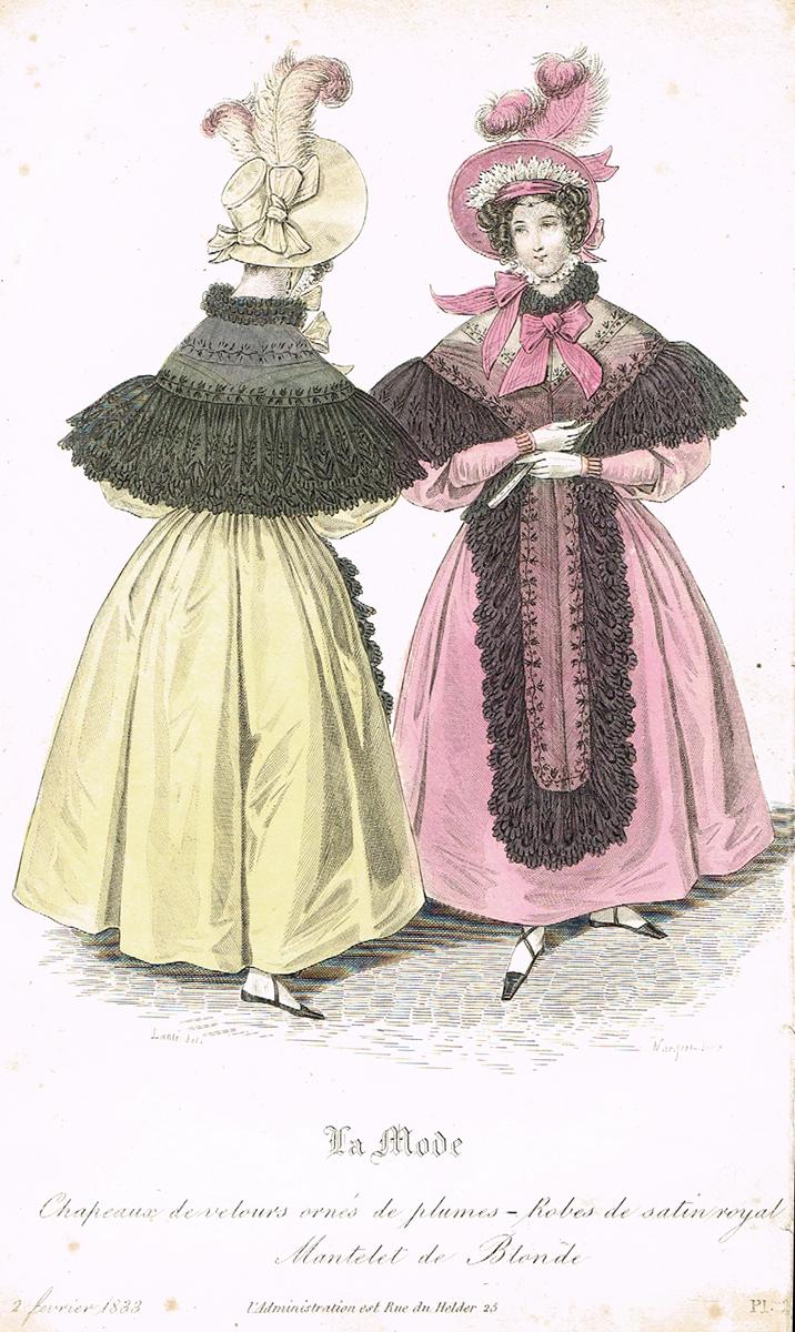 Дамская парижская мода (февраль 1833 года). Литография. Франция, 1830-е гг.