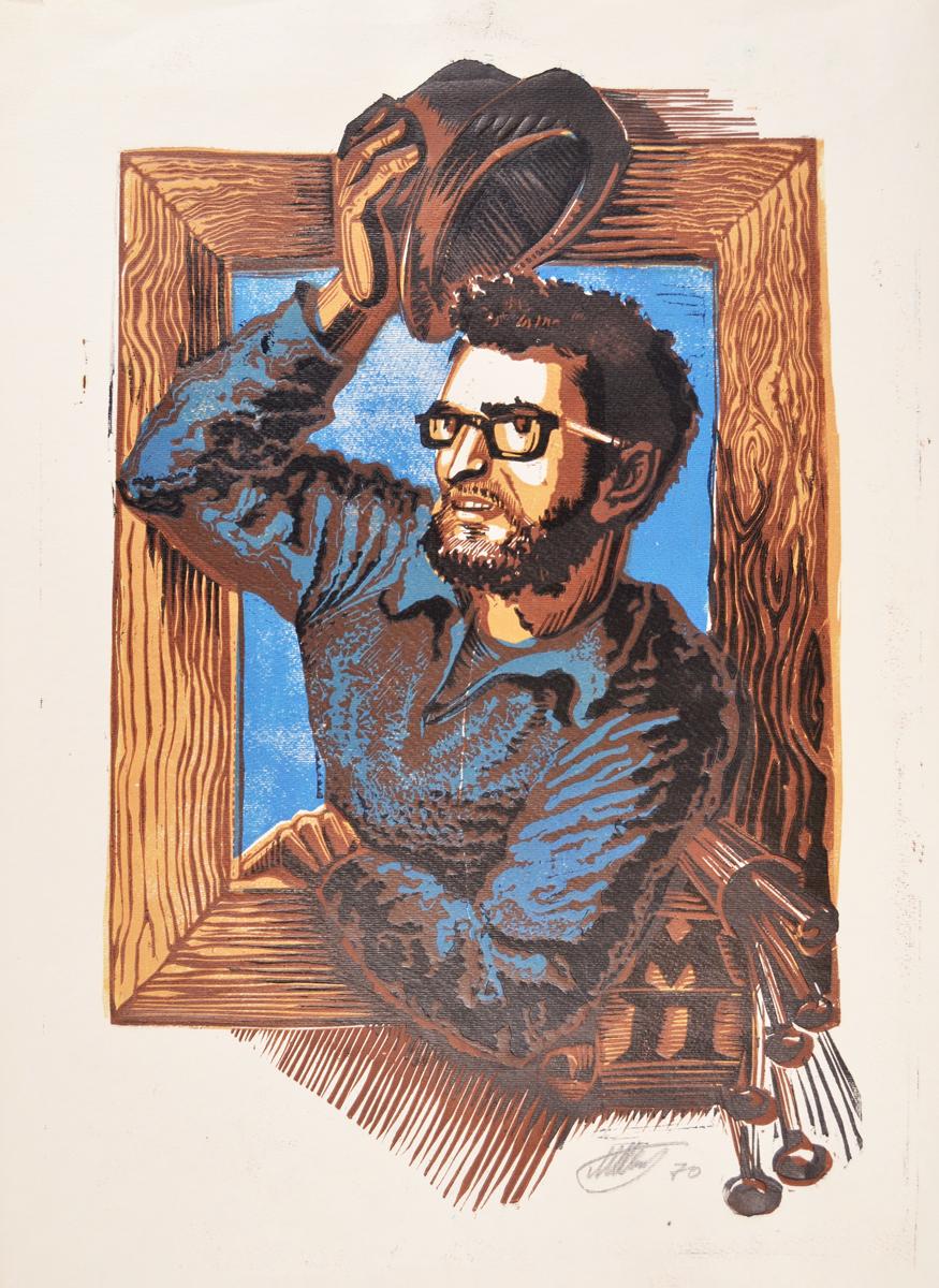 Портрет мужчины с бородой. Линогравюра(?). Художник Михаил Петренко. СССР, 1970 год