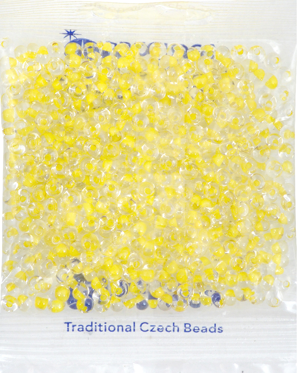 """Бисер Preciosa """"Drops"""", прозрачный, с цветным центром, цвет: желтый (38686), 5/0, 50 г"""
