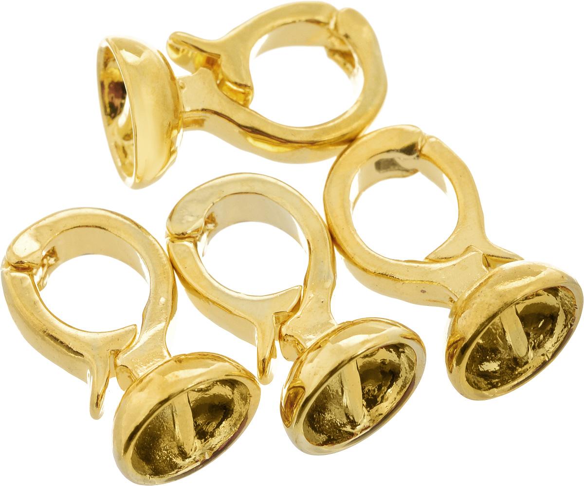 Застежка для бус Астра, декоративная, цвет: золотистый, размер: 14 х 7 мм, 4 шт фигурка декоративная астра бабочка цвет желтый черный 22 х 35 мм 4 шт