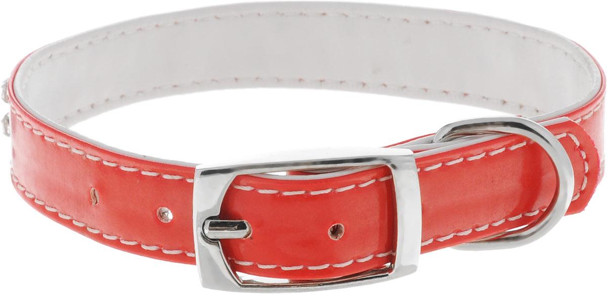 Ошейник для собак Каскад Синтетик, со стразами, цвет: красный, ширина 17 мм, длина 25-31 см ошейник pet line для животных со стразами цвет красный длина 24 5 см