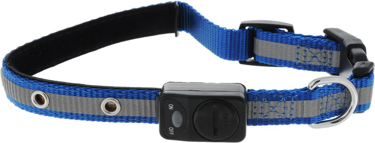 """Ошейник для собак Каскад """"Мигающий"""", со светоотражающей лентой, цвет: синий, ширина 15 мм, длина 30-40 см"""
