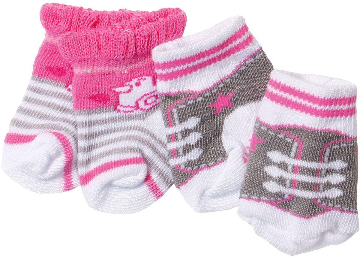 Baby Born Одежда для кукол Носочки 2 пары цвет белый, розовый, коричневый цена