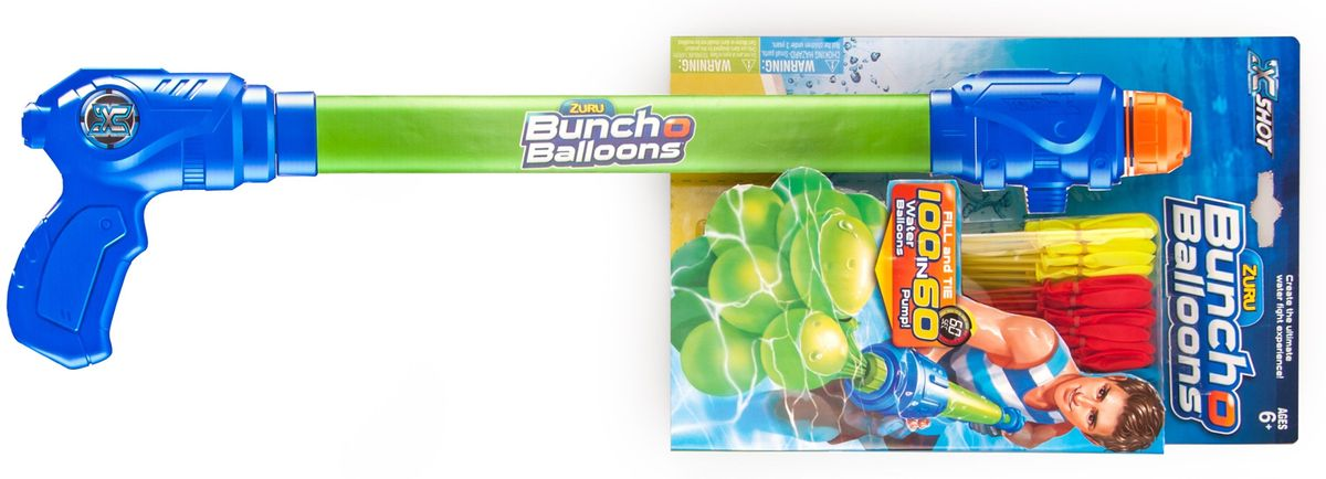 Zuru Водяное оружие Bunch O Balloons с оружием-насосомZ5636Водяное оружие Zuru Bunch O Balloons с оружием-насосом - это инновационные водные баллоны для метания.Набор с оружием-насосом создан для веселой игры на природе. Он представляет собой связку баллонов: каждый прикреплен к специальной трубочке. Для заполнения достаточно подвести связку баллонов на трубочках к шлангу или крану, либо воспользоваться специальным оружием-насосом. Забудьте о нудном заполнении отдельных шаров, которое, кажется, длится бесконечно и утомит вас еще до начала игры. Баллоны заполняются моментально: 100 баллонов за одну минуту! После достаточно встряхнуть связку. Благодаря специальному стягивающему колечку баллоны отделятся от трубочек без завязывания и сразу будут готовы к метанию. Помимо метания баллонов, с этим набором можно будет стрелять водой из специального оружия-насоса. Уважаемые клиенты! Обращаем ваше внимание на цветовой ассортимент шариков. Поставка осуществляется в зависимости от наличия на складе.