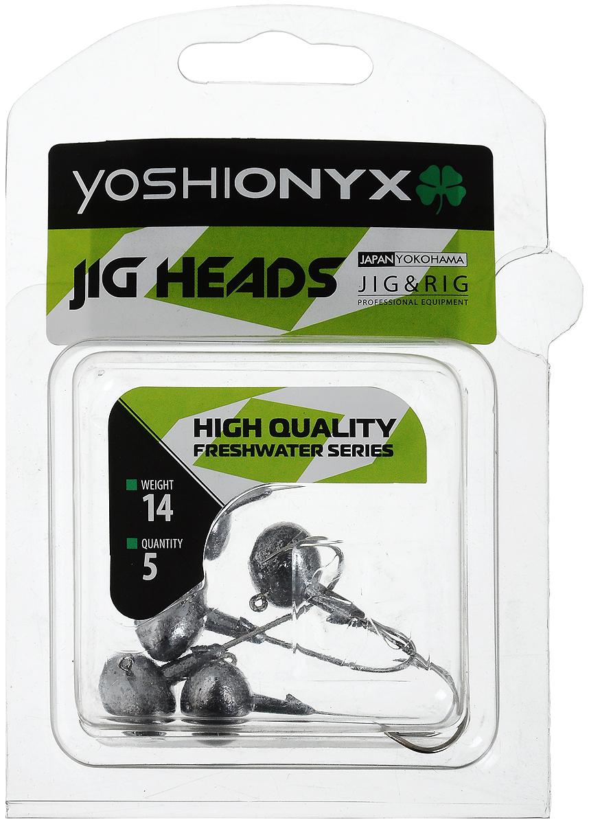 Джиг-головка Yoshi Onyx JIG Bros. Футбольный мяч, крючок Gamakatsu, 14 г, 5 шт