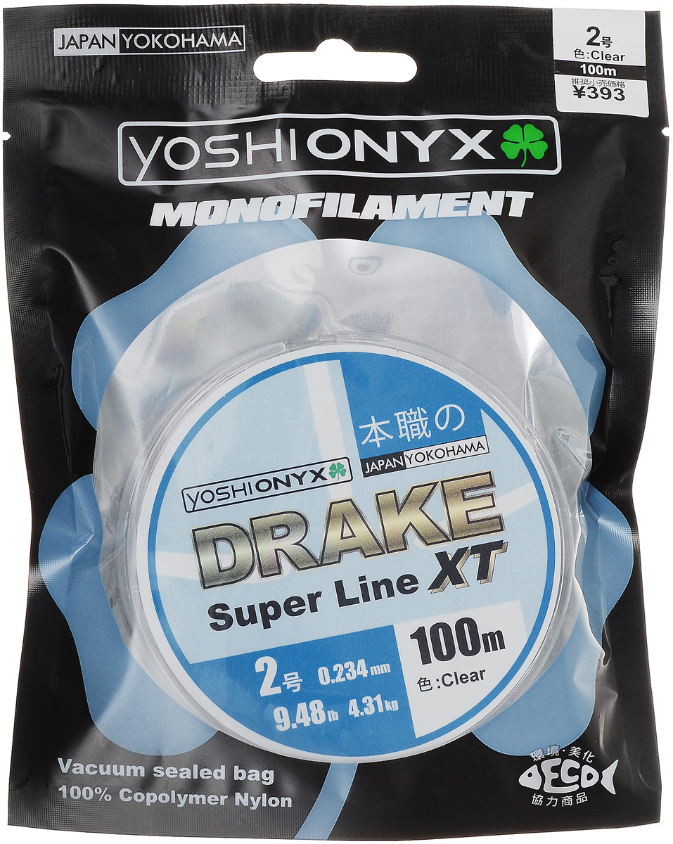 Леска Yoshi Onyx Drake Super Line XT, цвет: прозрачный, 100 м, 0,234 мм, 4,31 кг леска yoshi onyx drake fluoro цвет прозрачный 100 м 0 21 мм 3 08 кг