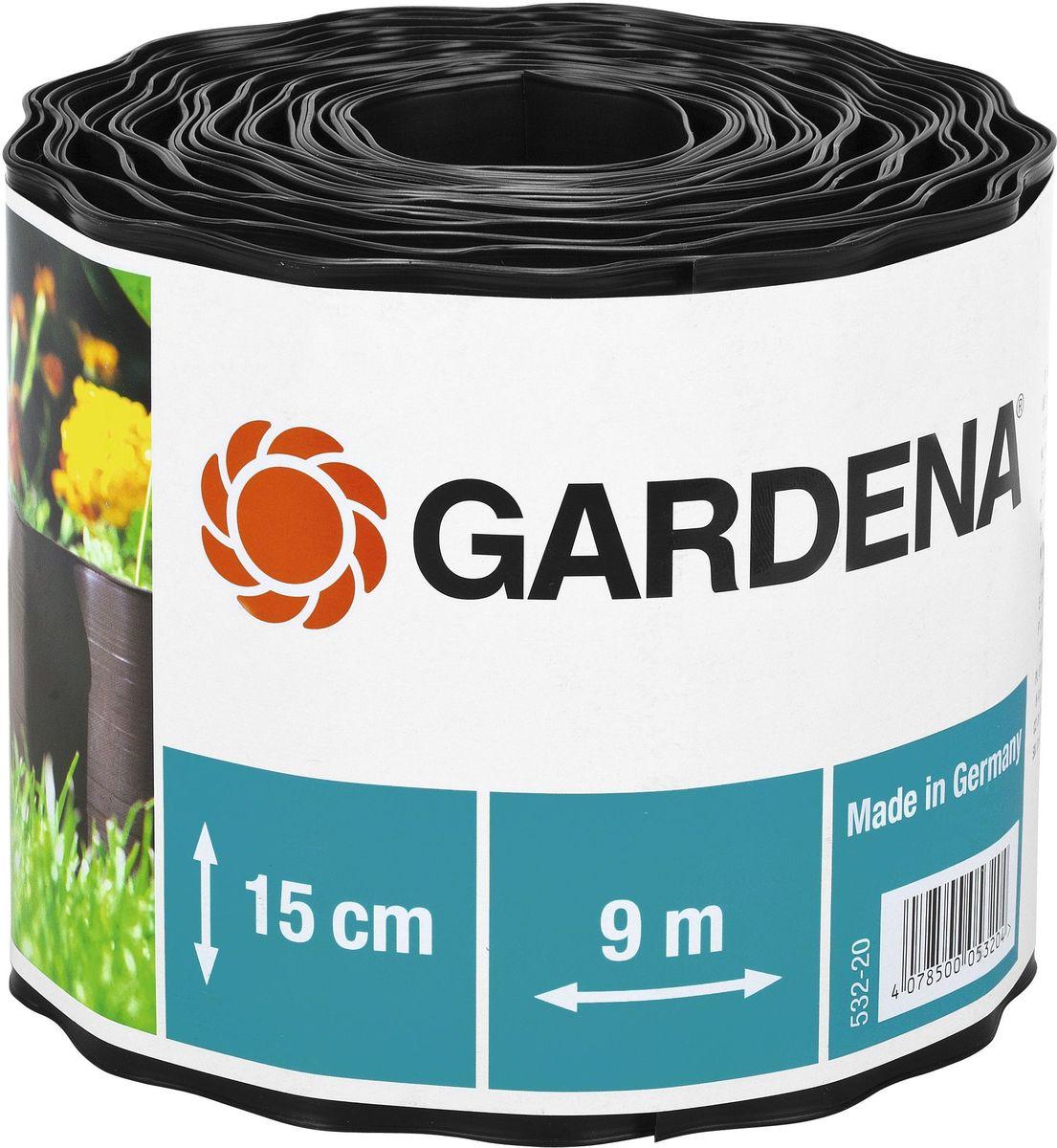 """Бордюр декоративный """"Gardena"""", цвет: черный, ширина 15 см, длина 9 м"""