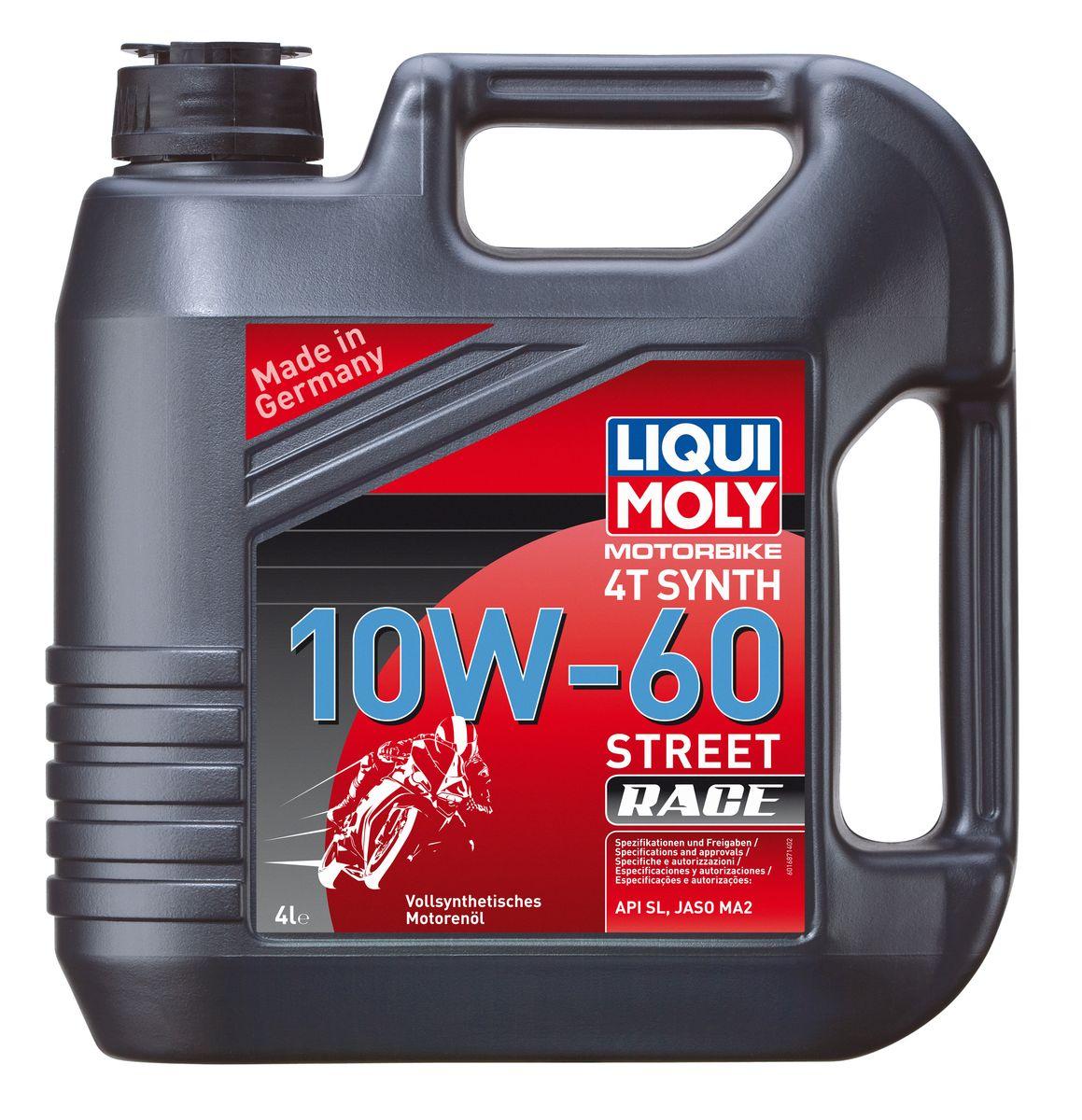 цена на Масло моторное Liqui Moly Motorbike 4T Synth Street Race, синтетическое, 10W-60, 4 л