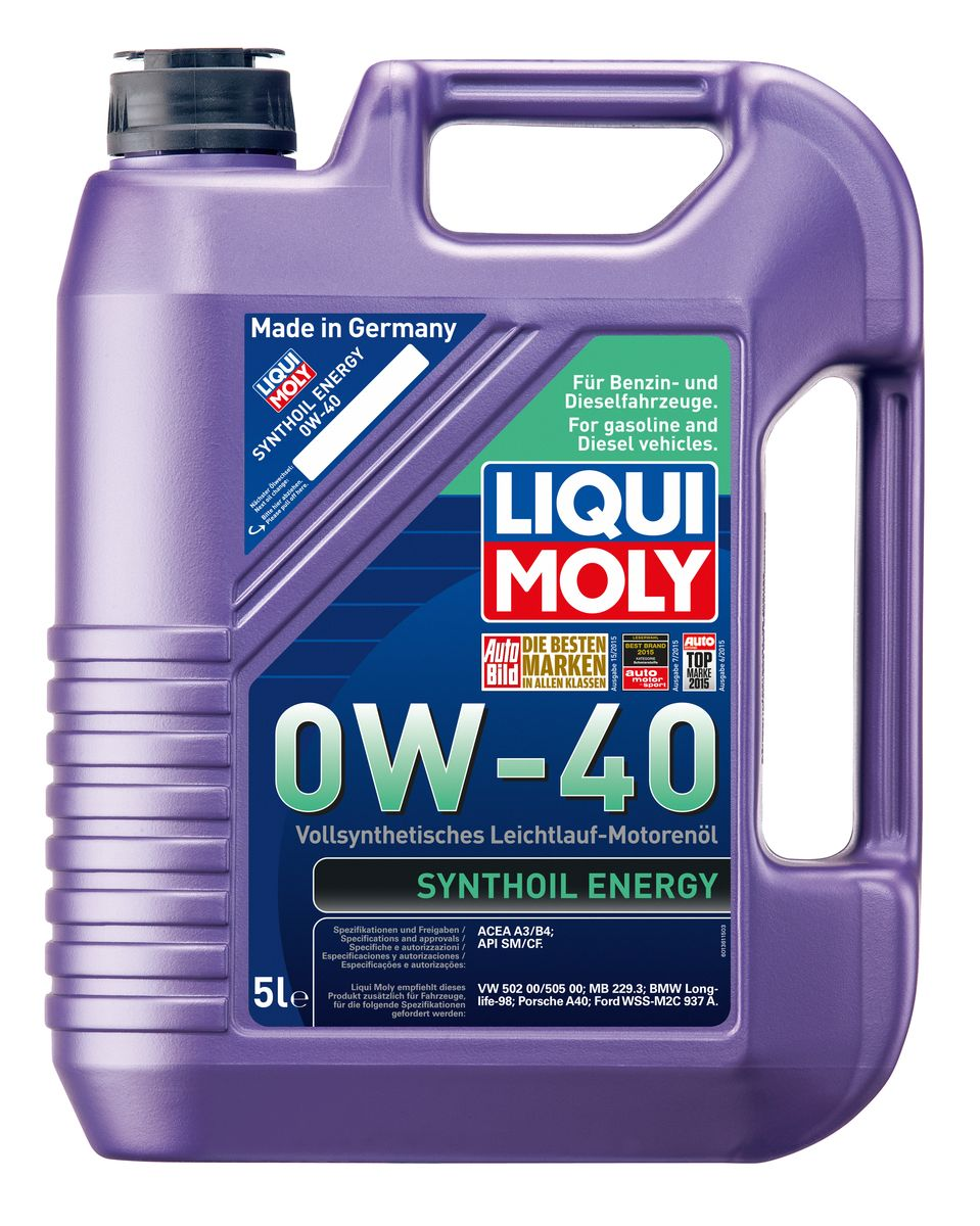 """Масло моторное Liqui Moly """"Synthoil Energy"""", синтетическое, 0W-40, 5 л"""