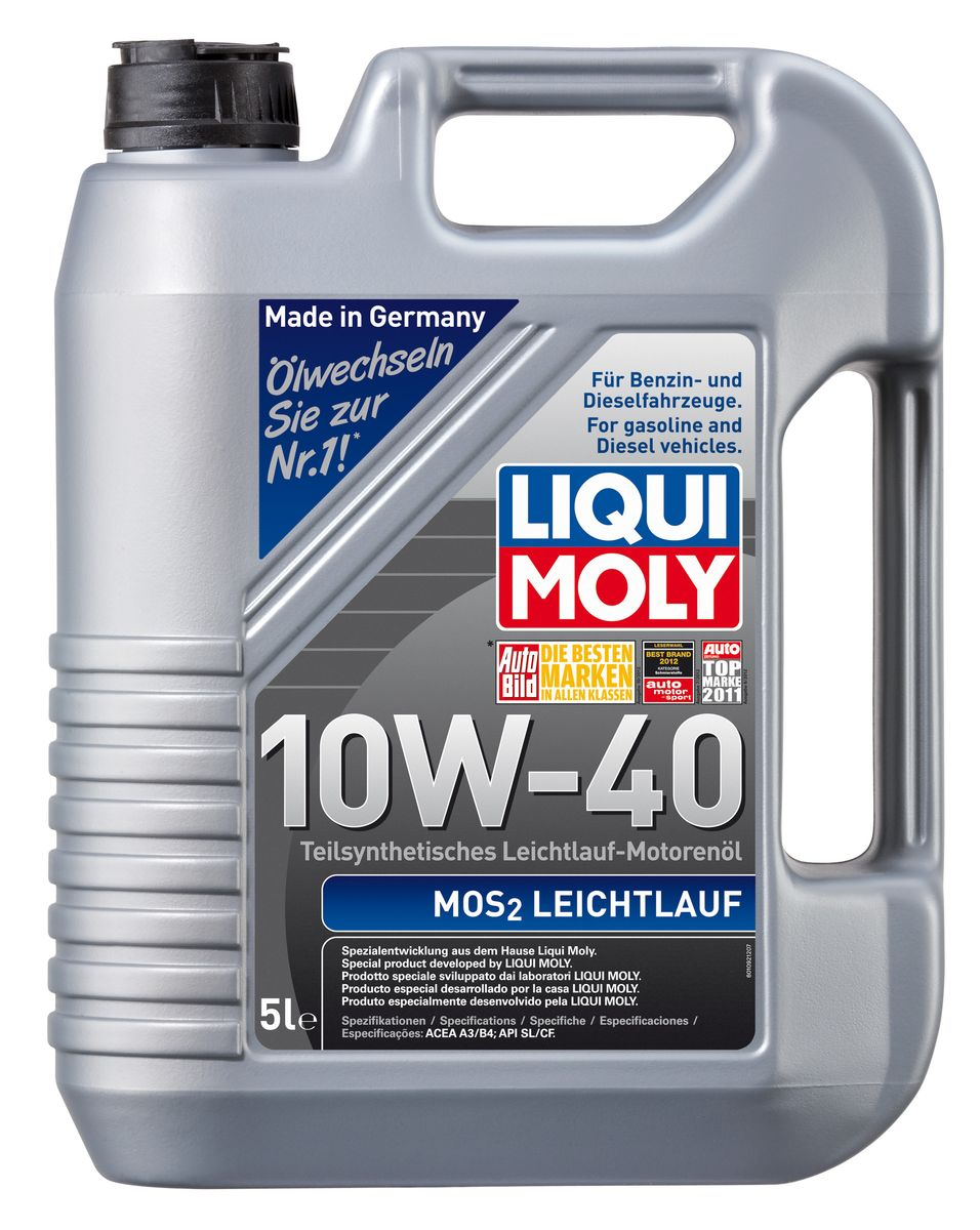 """Масло моторное Liqui Moly """"MoS2 Leichtlauf"""", полусинтетическое, 10W-40, 5 л"""