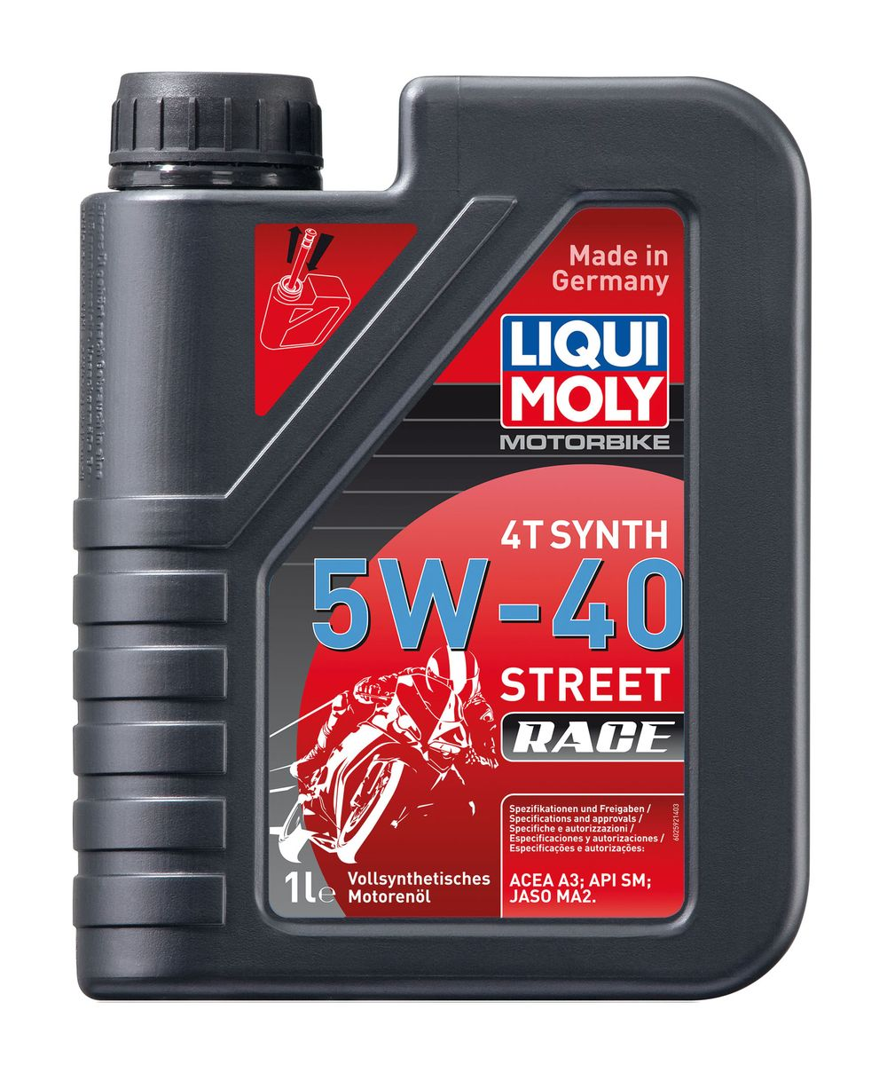 цена на Масло моторное Liqui Moly Motorbike 4T Synth Street Race, синтетическое, 5W-40, 1 л