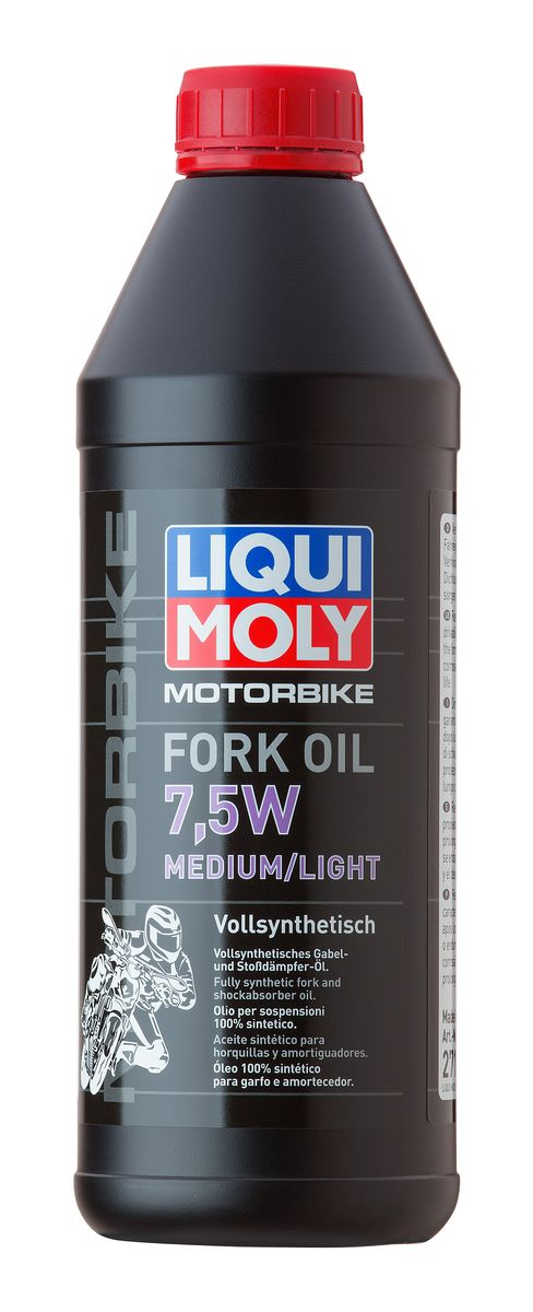Масло для вилок и амортизаторов Liqui Moly Motorbike Fork Oil Medium/Light, синтетическое, 7,5W, 1 л 2719 liquimoly синт масло д вилок и амортиз motorbike fork oil medium light 7 5w 1л