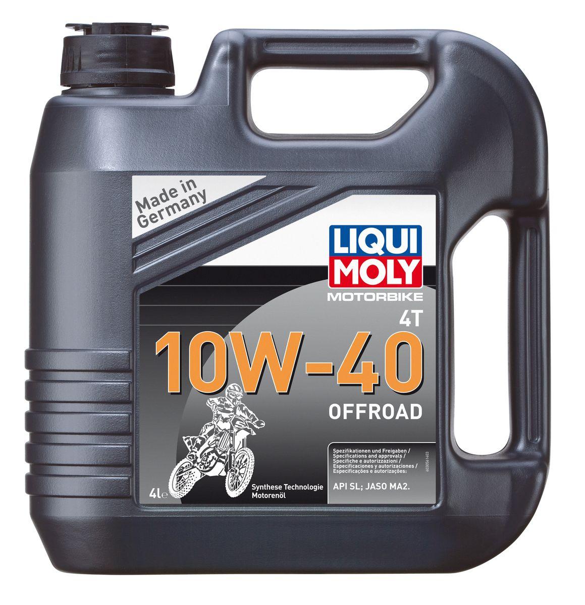 """Масло моторное Liqui Moly """"Motorbike 4T Offroad"""", НС-синтетическое, 10W-40, 4 л"""