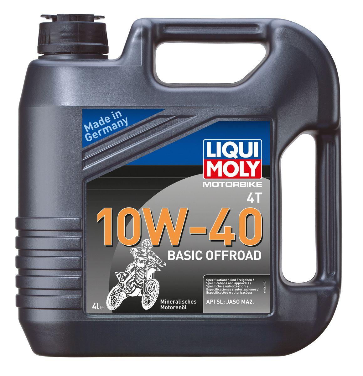 """Масло моторное Liqui Moly """"Motorbike 4T Basic Offroad"""", минеральное, 10W-40, 4 л"""