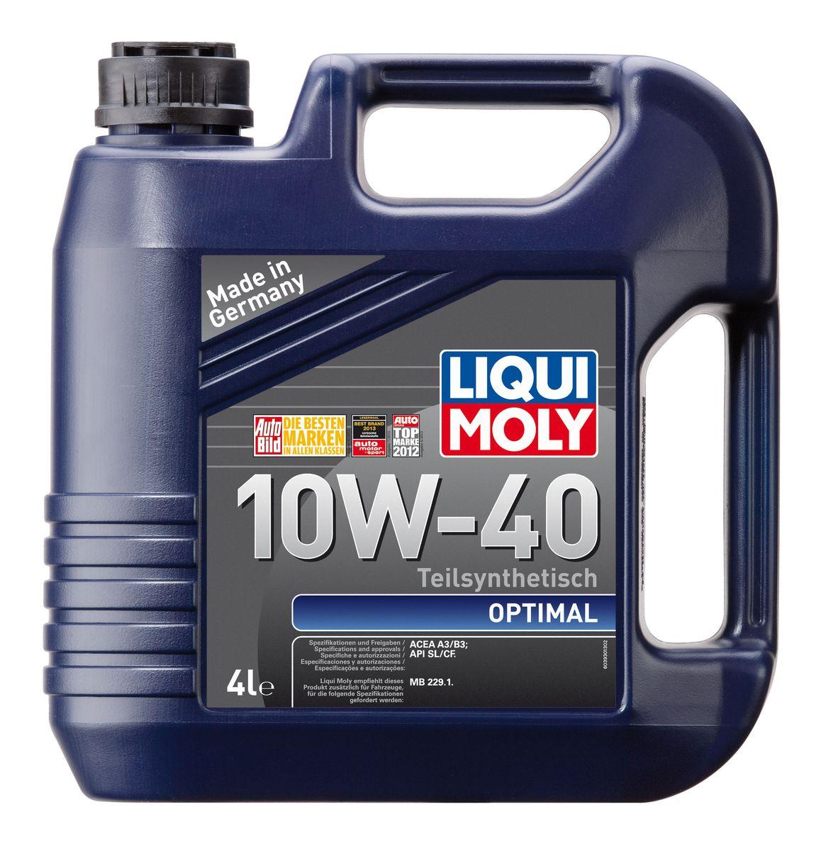 "Масло моторное Liqui Moly ""Optimal"", полусинтетическое, 10W-40, 4 л"