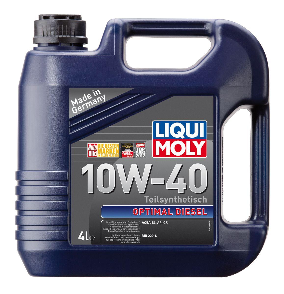 Масло моторное Liqui Moly Optimal Diesel, полусинтетическое, 10W-40, 4 л моторное масло mannol diesel extra 10w 40 для дизельных двигателей 5 л полусинтетическое