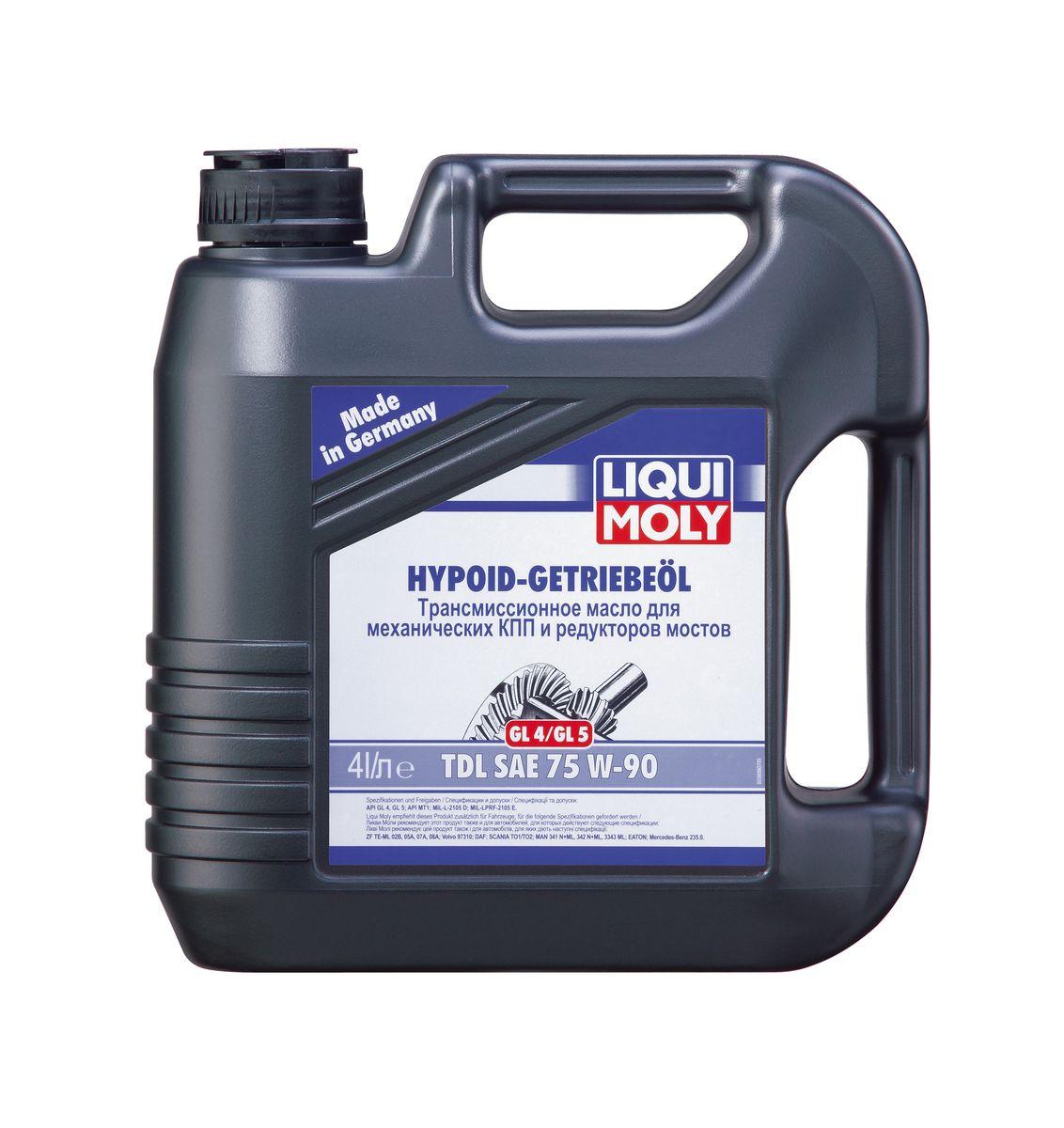 Масло трансмиссионное Liqui Moly Hypoid-Getriebeoil TDL, полусинтетическое, 75W-90, GL-4/GL-5, 4 л масло трансмиссионное liqui moly hypoid getriebeoil tdl полусинтетическое 75w 90 gl 4 gl 5 1 л